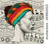 girl in turban with african... | Shutterstock .eps vector #433001023