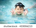 boy swimming in the pool   Shutterstock . vector #433006213