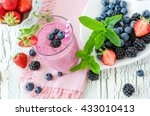 berry smoothie  healthy summer... | Shutterstock . vector #433010413
