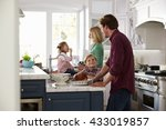 family preparing roast turkey... | Shutterstock . vector #433019857