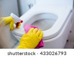 woman in yellow rubber gloves... | Shutterstock . vector #433026793