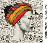 girl in turban with african... | Shutterstock .eps vector #433038493