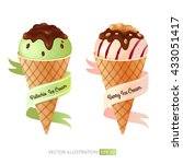 set with ice cream. vector... | Shutterstock .eps vector #433051417
