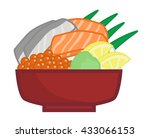 raw fish on the rice   japanese ... | Shutterstock .eps vector #433066153