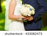 wedding. the groom in a suit... | Shutterstock . vector #433082473