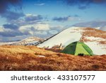 tourist tent in the mountains...   Shutterstock . vector #433107577