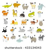 cute vector zoo alphabet with... | Shutterstock .eps vector #433134043