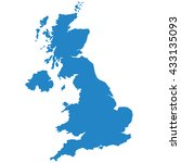 blue map of united kingdom | Shutterstock .eps vector #433135093