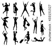 vector happy girls silhouette. | Shutterstock .eps vector #433151527