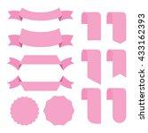 pink banner ribbon vector set... | Shutterstock .eps vector #433162393