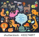 cute animals set against a dark ... | Shutterstock .eps vector #433174897