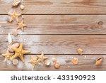 frame of seashells and white... | Shutterstock . vector #433190923