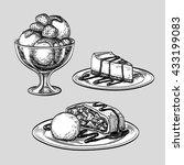 sketch set of desserts. hand... | Shutterstock .eps vector #433199083