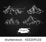 vector mountains drawing set.... | Shutterstock .eps vector #433209133