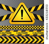 black and yellow caution... | Shutterstock .eps vector #433218553