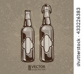 brown artistic hand drawn beer... | Shutterstock .eps vector #433226383
