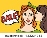 whispering in ear. two girls... | Shutterstock .eps vector #433234753