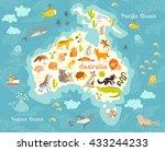 animals world map  australia.... | Shutterstock . vector #433244233