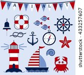 nautical set. marine theme. sea ... | Shutterstock .eps vector #433257607