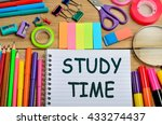 the words study time on...   Shutterstock . vector #433274437