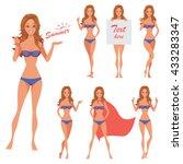 summer girl poses set. part 4.... | Shutterstock .eps vector #433283347