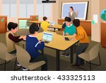 a vector illustration of kids... | Shutterstock .eps vector #433325113
