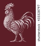 rooster and lettering label... | Shutterstock .eps vector #433328797