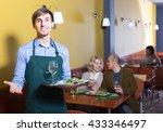 waiter working in ordinary... | Shutterstock . vector #433346497