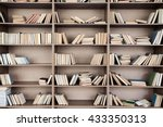 book shelf with many books | Shutterstock . vector #433350313