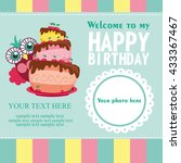 happy birthday card design.... | Shutterstock .eps vector #433367467