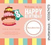 happy birthday card design.... | Shutterstock .eps vector #433367473