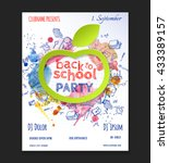 back to school party flyer... | Shutterstock .eps vector #433389157