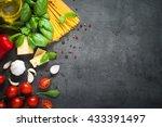 pasta ingredients. ingredients... | Shutterstock . vector #433391497