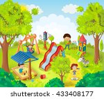 children playing in the park... | Shutterstock .eps vector #433408177