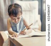 girl drawing imagination... | Shutterstock . vector #433408447