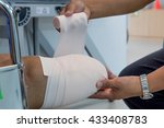 below knee stump bandaging | Shutterstock . vector #433408783