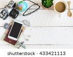 outfit of traveler on white... | Shutterstock . vector #433421113
