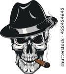evil skull with cigar | Shutterstock .eps vector #433434643