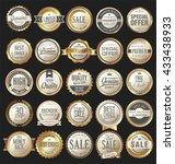 retro vintage golden badges and ... | Shutterstock .eps vector #433438933