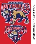 big muscular pit bull dog | Shutterstock .eps vector #433455973