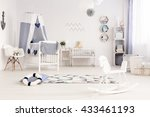 light and spacious baby room in ... | Shutterstock . vector #433461193