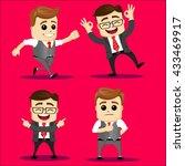 set of funny cartoon... | Shutterstock .eps vector #433469917