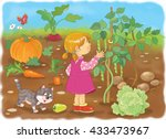 in the garden. a cute girl and...   Shutterstock . vector #433473967