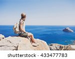 female traveler looking at the... | Shutterstock . vector #433477783
