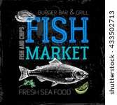 restaurant sea food menu. fish... | Shutterstock .eps vector #433502713