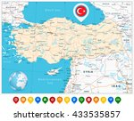 detailed road vector map of... | Shutterstock .eps vector #433535857
