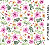 watercolor pink flowers  green... | Shutterstock . vector #433555387