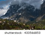 a small town in a green valley...   Shutterstock . vector #433566853