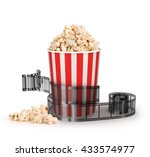 box of popcorn with a strip of ... | Shutterstock . vector #433574977
