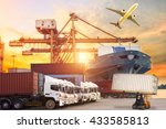 containers shipping and... | Shutterstock . vector #433585813